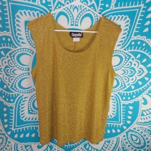 Vintage Gold Glitter Tank 1X Christmas Glam 80s
